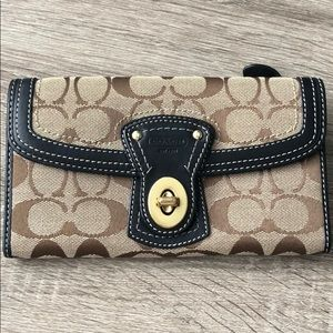 Tan and Black Coach Wallet